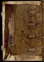 Reliure monastique du XIIe siècle, ais de bois et passage des nerfs.
