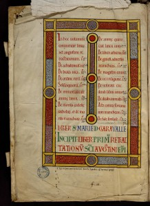 Origène, Homélies, ms. 434, f. 1 ; Augustin, Opuscules, ms. 40 t. 1 Opuscula, t. 1