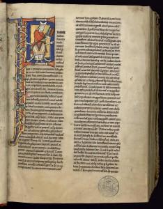 Saint Jérôme lisant, Bible de saint Bernard. XIIe s.