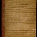 demi-reliure type 2 (brun) MS_0592_0002] Demi-reliure du XVIIIe siècle, en basane et papier peint sur carton, de type 2. MGT, ms. 592, plat supérieur,