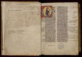 Pierre Lombard, Livre des sentences, XIIe siècle. MGT, ms. 900, f. 1r.
