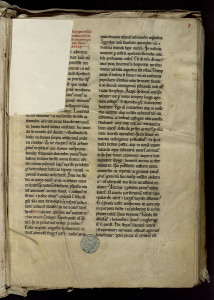 MGT ms 37 f.1 MS_0037_0004] Mutilation et restauration sur le premier feuillet d'un manuscrit de Clairvaux.
