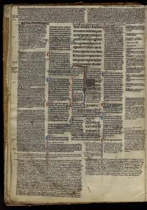 Evangiles glosés, appartenant à la bibliothèque du collège Saint-Bernard au XIIIe siècle.