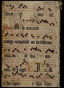 Les ais de bois de ce manuscrit sont couverts d'un feuillet d'antiphonaire. MGT, Ms. 157, plat supérieur.