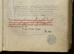 La table des matières médiévale de ce manuscrit, en rouge, a été complétée par l'indication de feuillets de début des différentes parties, puis par une annotation d'un bibliothécaire du XVIIe-XVIIIe siècle, elle-même complétée par une annotation de Dom Delannes. MGT, ms. 259, f. 1.