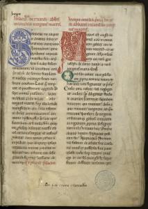 Manuscrit de l'exemplaire de l'édition claravallienne des œuvres de saint Bernard, milieu du XIIe siècle. MGT, ms. 426, f. 1.