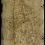 Reliure monastique en peau blanche. Les traces des bouillons aux quatre coins et au centre sont encore bien visibles. Les fermoirs ont été découpés, mais les deux groupes de trois clous servant à les attacher ont été conservés. Une pièce de titre en cuir bleu a été apposée sur le dos du manuscrit. MGT, ms. 437, plat supérieur.