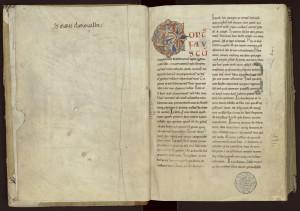 « De Sainte Marie de Clairvaux » : un des ex-libris les plus anciens de la bibliothèque de Clairvaux. MGT, ms. 527, f. 1.
