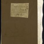 Demi-reliure de restauration, en toile et parchemin souple. Les ais de bois de la reliure médiévale ont été conservés sous la toile et une ancienne étiquette a été reportée sur la toile. MGT, ms. 829, plat inférieur.