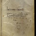 Ex-libris et notice du XIVe siècle. MGT, ms. 1412, f. 129.