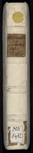 Etiquette apposée au XVIIIe siècle sur le dos en parchemin d'un manuscrit. La cote moderne est collée en dessous. MGT, ms. 1412, dos.