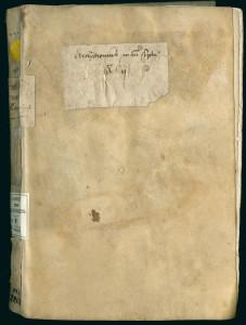 xemplaire manuscrit de l'Archithrenius utilisé pour l'édition de 1517. Ms 2263, plat supérieur.
