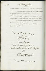 Fin du catalogue des imprimés de Clairvaux, établi entre 1790 et 1795. MGT, ms. 2538, p. 2604.