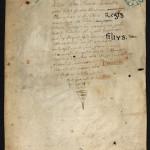 f. découpé du ms du prince Henri] feuillet mutilé de manuscrit donné par le prince Henri. MGT, ms. 3196, feuillet unique.