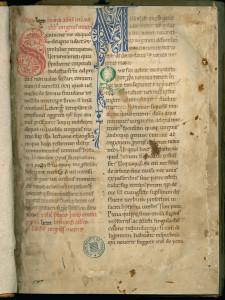 Copie du XIIe siècle du manuscrit 426 de l'édition claravallienne des œuvres de saint Bernard. Ce manuscrit a appartenu à Mores, abbaye fille de Clairvaux. MGT, ms. 799, f. 1