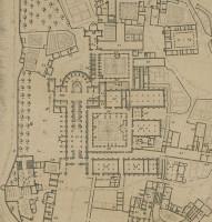 Plan de Clairvaux en 1708 par Dom Milley. Sur ce plan figurent la petite bibliothèque (55), qui donne sur le grand cloître (54), et quatorze écritoires (65) donnant sur le petit cloître (66).