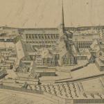 Plan de Clairvaux en élévation, vu de l'Ouest. La bibliothèque (66) est desservie par un élégant escalier en vis.